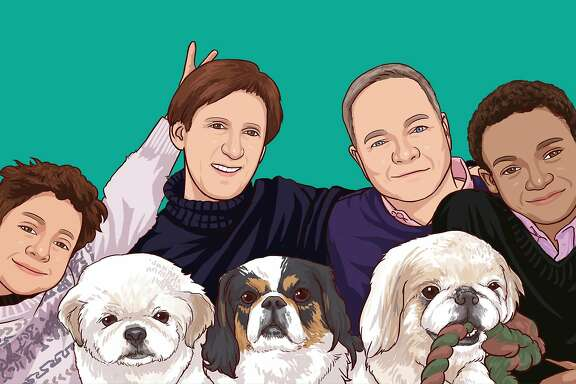 The Fisher-Paulson�family drawn here with Krypto (left),�Bandit (middle) and�Buddyboy (right).