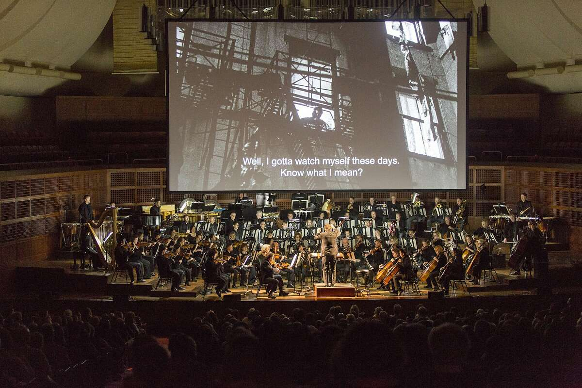 "David Newman conducts the San Francisco Symphony as it screens the Marlon Brando classic ""On The Waterfront,"" performing Leonard Bernstein's Oscar-winning soundtrack live, Saturday, Jan. 7, 2017 in San Francisco, CA."