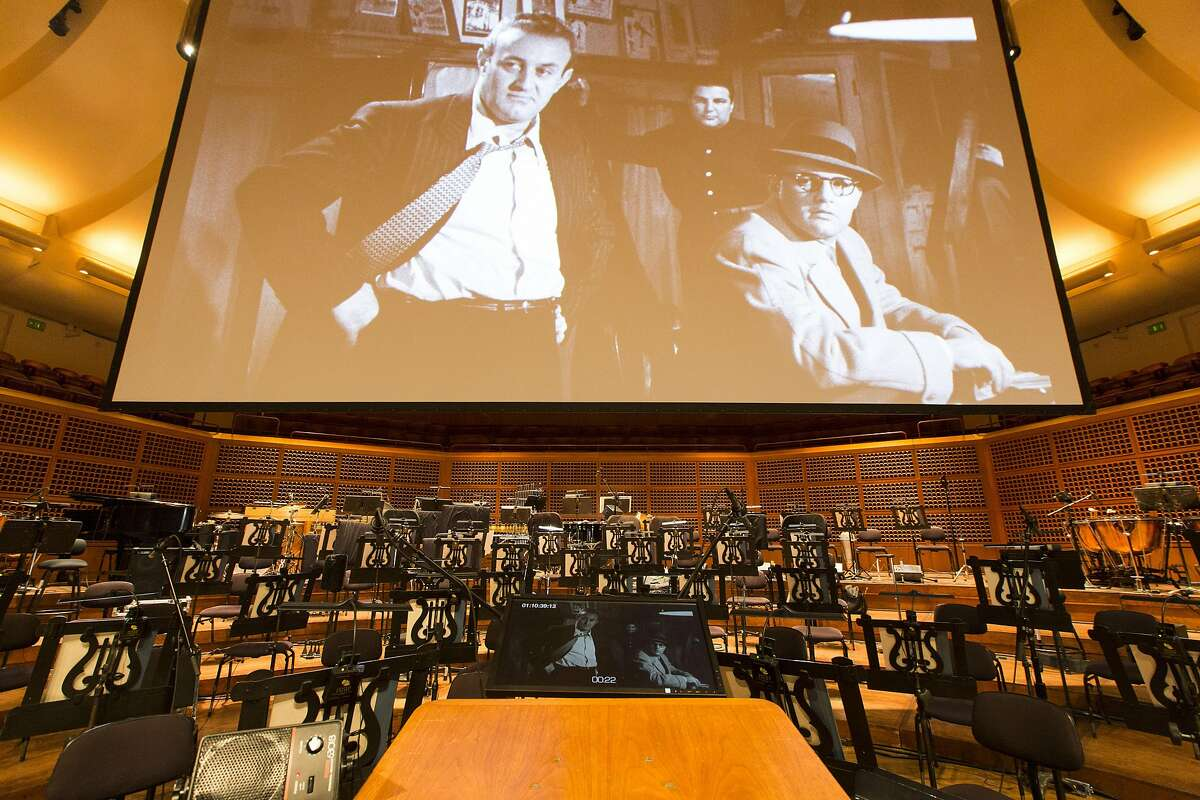 """The stage is prepared before David Newman conducts the San Francisco Symphony as it screens the Marlon Brando classic """"On The Waterfront,"""" performing Leonard Bernstein's Oscar-winning soundtrack live, Saturday, Jan. 7, 2017 in San Francisco, CA."""