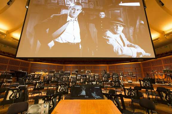 "The stage is prepared before David Newman conducts the San Francisco Symphony as it screens the Marlon Brando classic ""On The Waterfront,"" performing Leonard Bernstein's Oscar-winning soundtrack live, Saturday, Jan. 7, 2017 in San Francisco, CA."