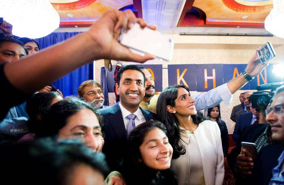 Ro Khanna and his wife, Ritu, celebrate his victory in Fremont on election night Nov. 8. Khanna has hit the ground running in his first days in office. Photo: Noah Berger, Special To The Chronicle