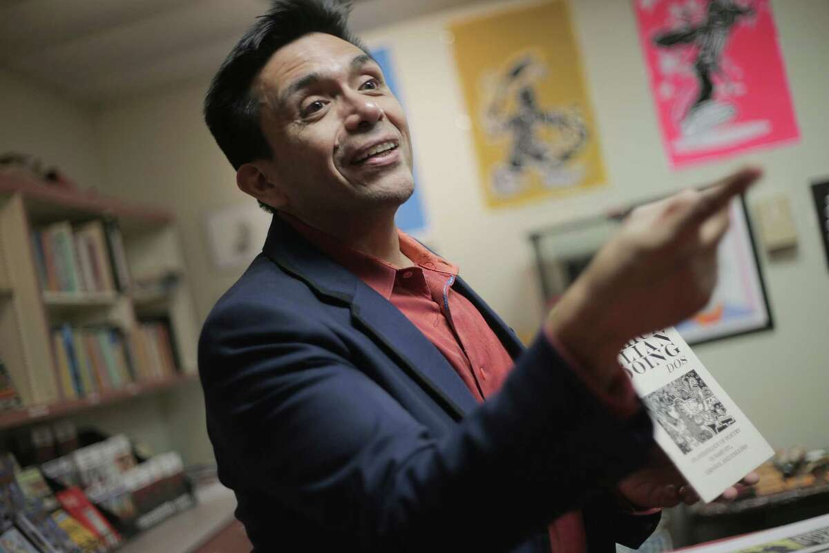 Tony Diaz, the director of Nuestra Palabra, talks about the new non-profit bookstore located inside the Talento Bilengue de Houston cultural arts and education center on Friday, Dec. 9, 2016, in Houston. ( Elizabeth Conley / Houston Chronicle )