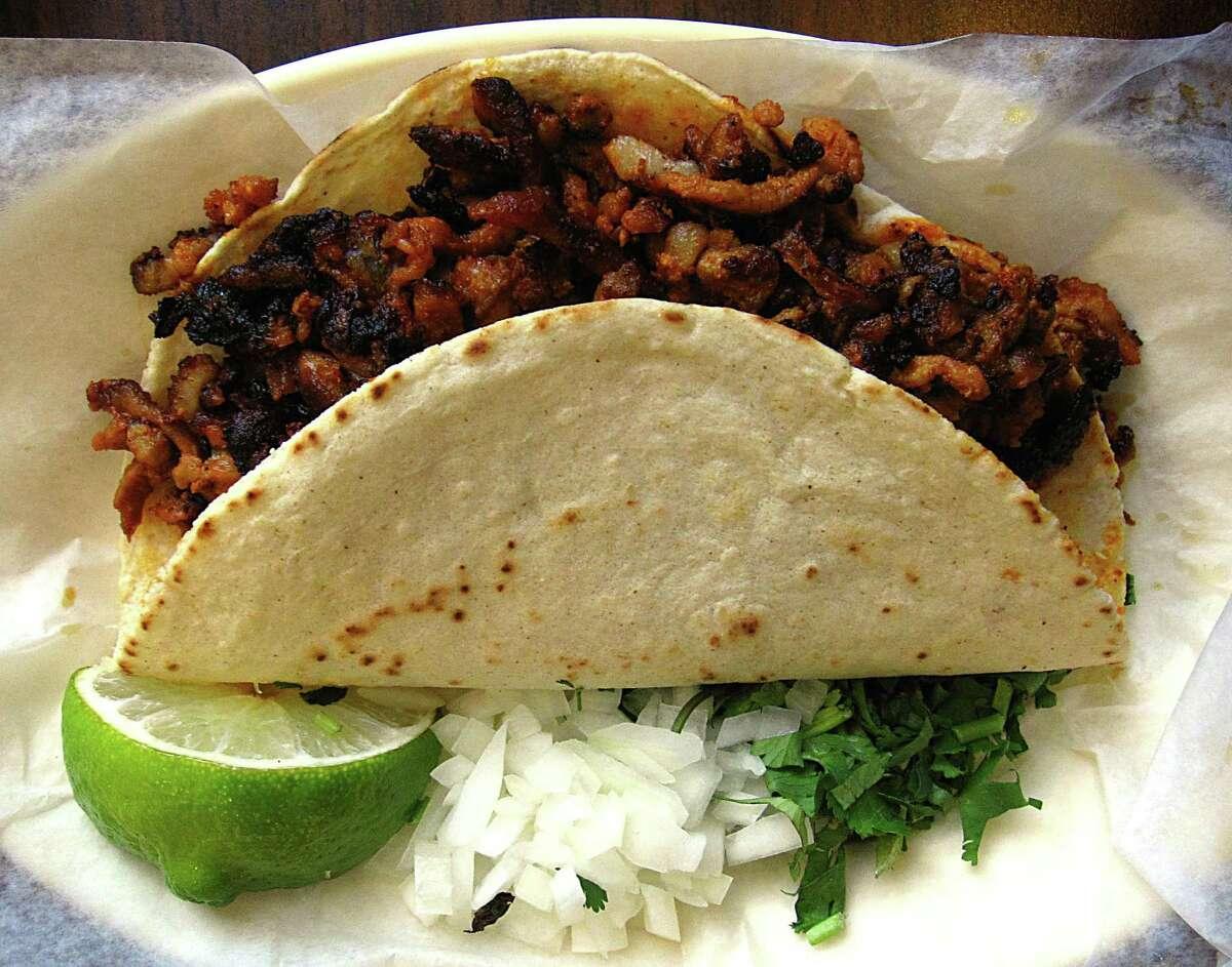 Al pastor taco on a handmade corn tortilla from Taquería Chapala Jalisco on McCullough Avenue.