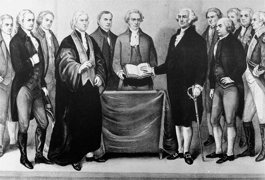 **FOR USE WITH AP LIFESTYLES** **FILE**  This Currier and Ives print is a reproduction of the scene at Old City Hall in New York April 30, 1789 as George Washington took oath of office.  Left to Right :  in foreground, Alexander Hamilton; Chancellor Livingston who administered the oath; Roger Sherman; secretary Otis of the Senate; Washington; John Adams; Baron Stueben; and General Knox.  (AP Photo, file) Photo: HO