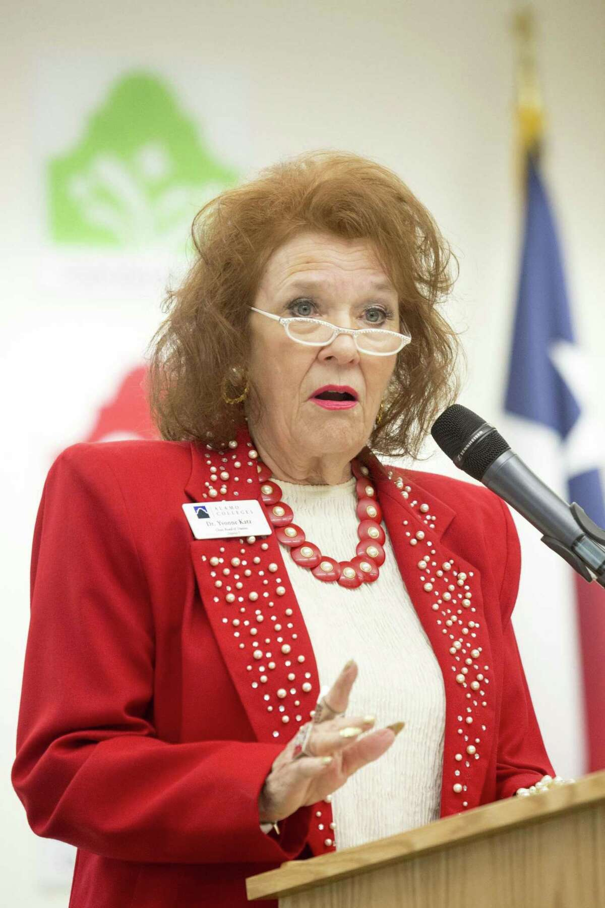 Yvonne Katz, the Alamo Colleges board chairwoman, speaks at a press conference a year ago. The board could vote on a new chancellor for the community college district as early as Thursday. Ray Whitehouse / for the San Antonio Express-News