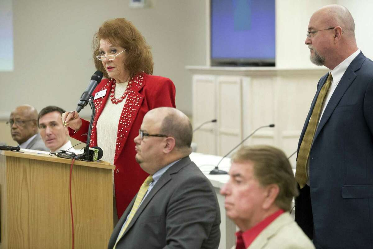 Flanked by five San Antonio College administrators, Alamo Colleges District Board Chair Dr. Yvonne Katz speaks during a press conference at an Alamo Colleges office in San Antonio, Texas on January 13, 2017. Ray Whitehouse / for the San Antonio Express-News