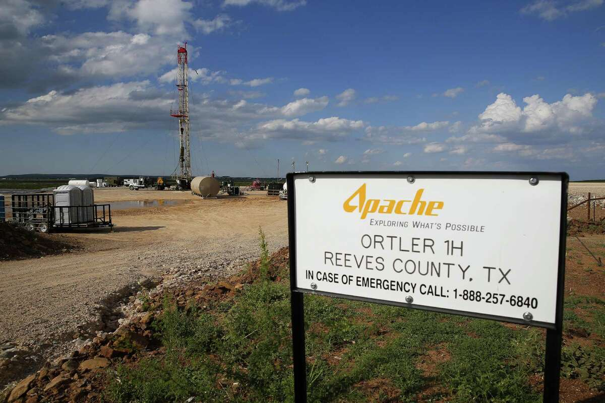 A drilling rig sits north of the Davis Mountains in Balmorhea. Apache has leased the mineral rights under the town and nearby state park, but has promised not to drill on or under either. While some residents worry that the drilling could affect the spring at the state park and affect tourism, others are excited for the potential economic boom the oil discovery and drilling could bring.