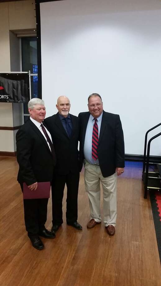 Corpus Christi Calallen head coach Steve Chapman (left) joined former Elkins coach Rick Carpenter (center) and former Bellaire coach Rocky Manuel as the 2017 Texas High School Coaches Association Hall of Fame class. The trio combined for more than 2,700 career wins and nine state championships. Photo: Angel Verdejo
