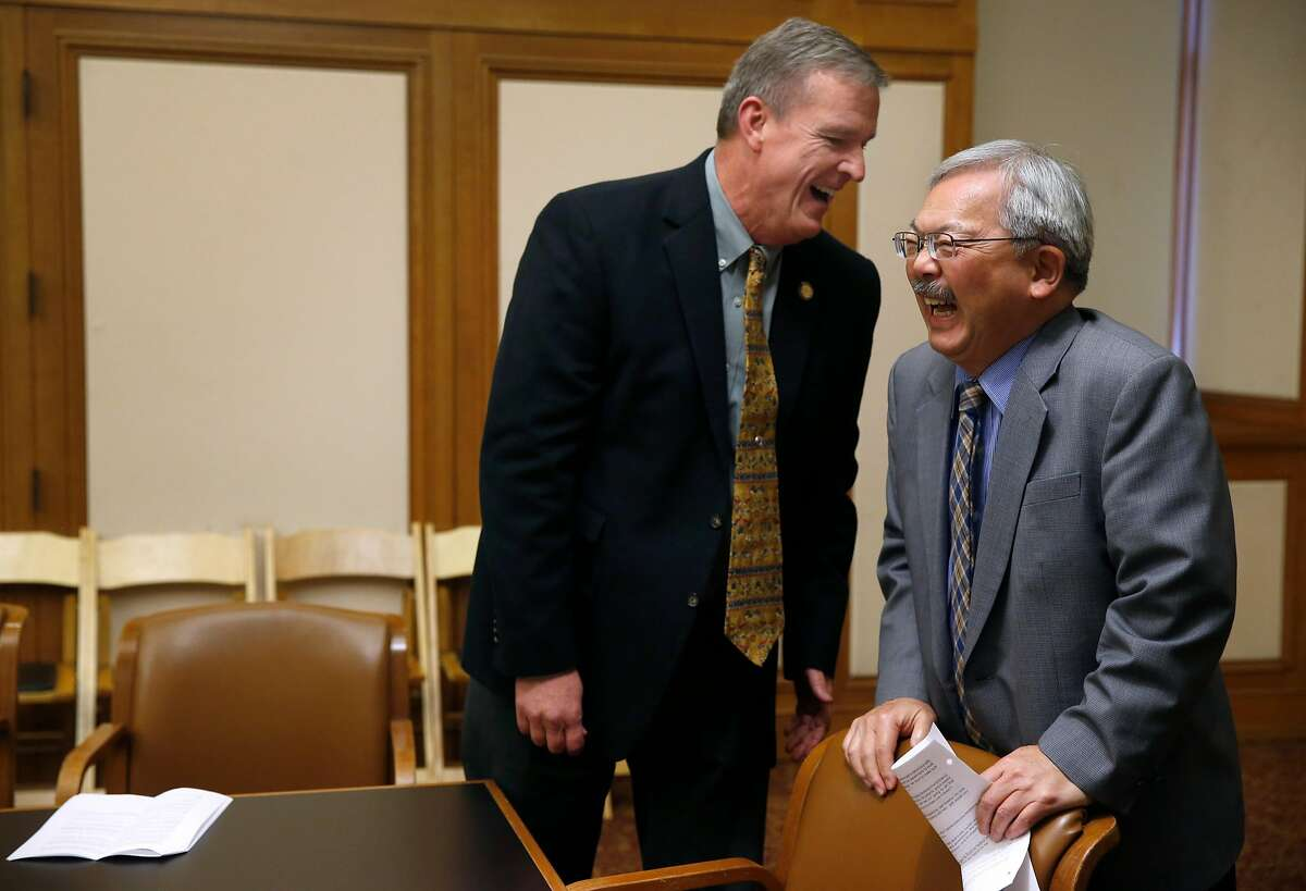 Supervisor Jeff Sheehy meets with Mayor Ed Lee before they convene a round table discussion with health care professionals at City Hall in San Francisco, Calif. on Friday, Jan. 13, 2017. Sheehy, who was appointed to the Board of Supervisors 8th District seat by the mayor after Scott Wiener was elected to the State Assembly, is the first openly HIV-positive person to serve on the board.