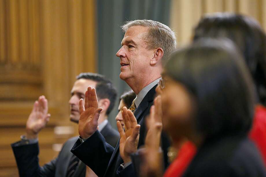 Sheehy and his fellow new supervisors take the oath of office Monday in S.F. City Hall. Sheehy replaces Scott Wiener, who was elected to the state Senate. Photo: Liz Hafalia, The Chronicle