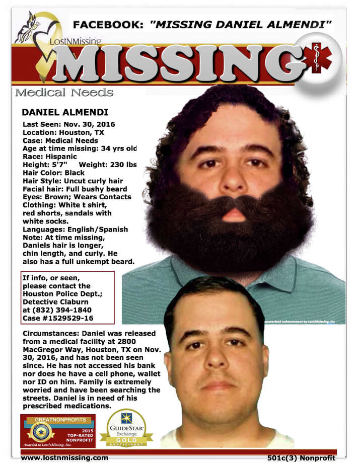 Daniel Almendi's family was searching for him in the Houston area.  / handout