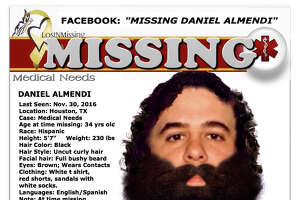 Daniel Almendi is currently missing and his family searching for him in the Houston area. Almendi was released from a medical facility on Nov. 30, 2016, and has not been seen since.