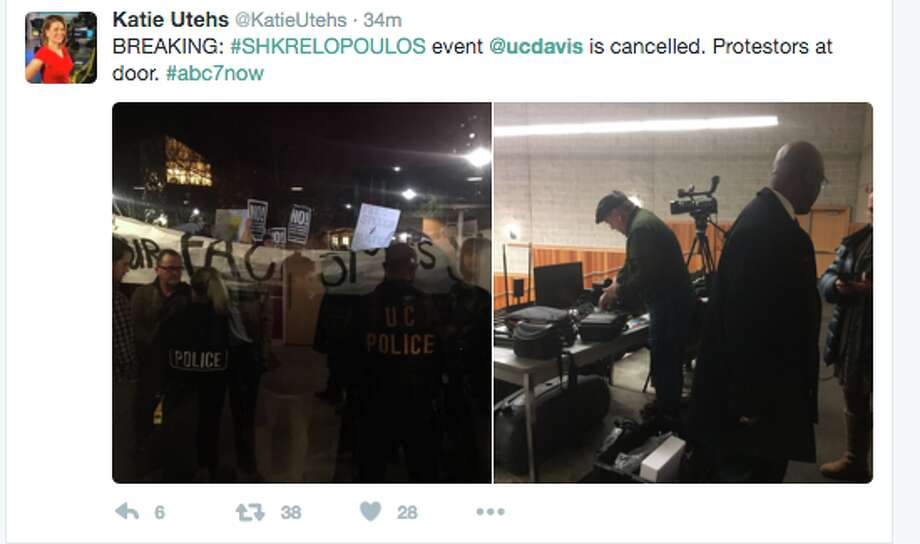 A Milo Yiannopoulous, Martin Shkreli event was canceled at UC Davis on Friday night following violent protests.