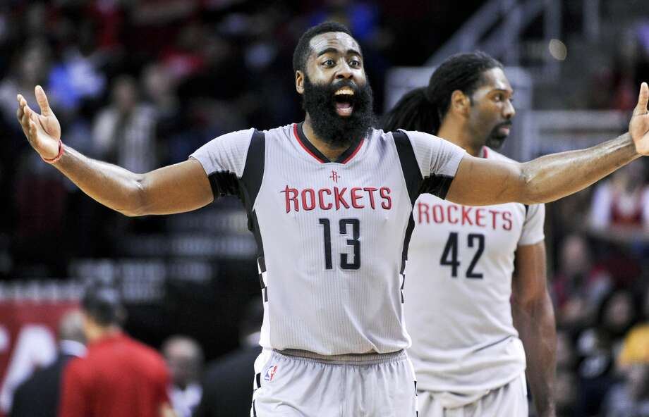 Houston Rockets guard James Harden (13) reacts to a foul in the second half of an NBA basketball game against the Memphis Grizzlies, Friday, Jan. 13, 2017, in Houston. Memphis won the game, 110-105. (AP Photo/Eric Christian Smith) Photo: Eric Christian Smith/Associated Press