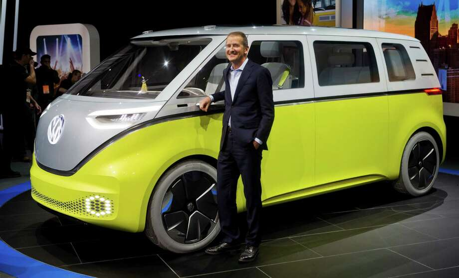Volkswagen's I.D. Buzz can seat eight. When the van is in self-driving mode, the driver can face backward. Photo: Tony Ding, FRE / FR143848 AP