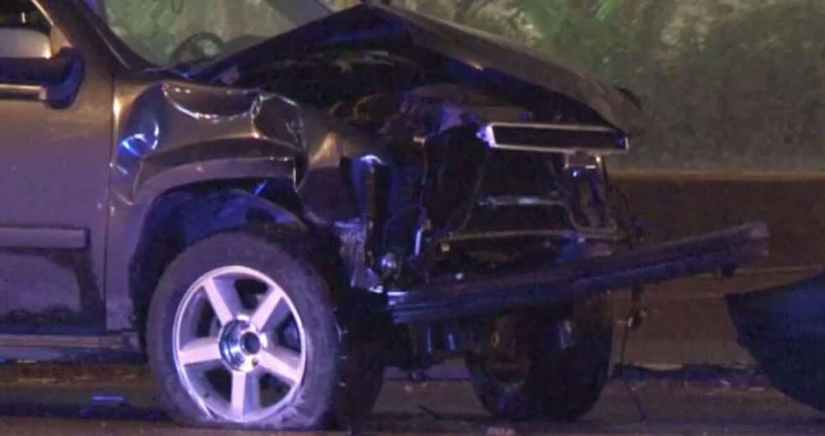 Fatal crash A suspected drunk driver killed one woman when his SUV left the North Freeway feeder road, crossed a grassy median just before West Road and entered the northbound main lanes about 1:30 a.m. Saturday.