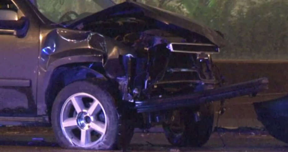 Fatal crashA suspected drunk driver killed one woman when his SUV left the North Freeway feeder road, crossed a grassy median just before West Road and entered the northbound main lanes about 1:30 a.m. Saturday. Photo: MetroVideo