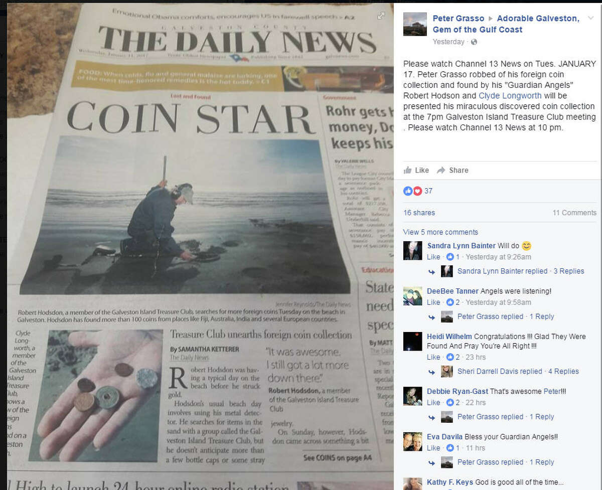 Big splash Peter Hodsdon's foreign coin find - and his return of the purloined change to its owner - made news in Galveston and on Facebook. >>>Click through the gallery to see other cases of buried or hidden treasure being discovered.
