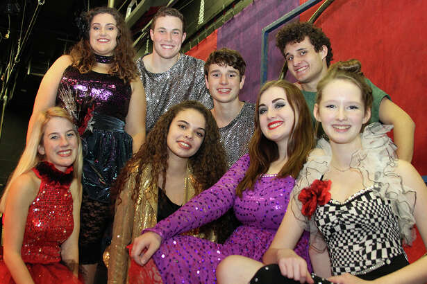 """Lead cast members from Pearland High School's upcoming production of """"Pippin"""" include: Anna Wurm, front left, Kayla Gill, Morghan Poehler, Jillian Maxwell, Emily Massicott, back left, Grant Hankins, Chris Stano and Brendan King."""