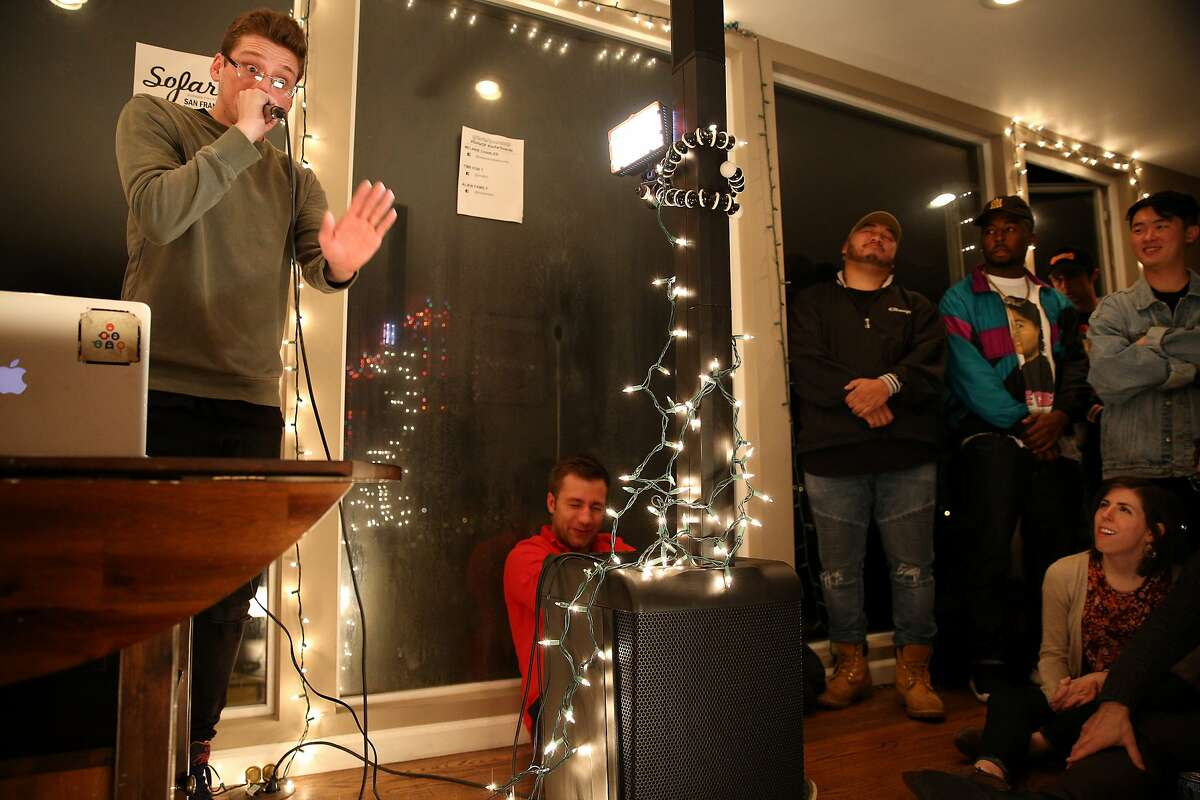 during a Sofar Sounds concert on Friday, Jan. 13, 2017, in San Francisco, Calif. The concert was held at a house in the Twin Peaks neighborhood. The exact venue location is a secret, as is the talent scheduled to perform until the day of the concert.