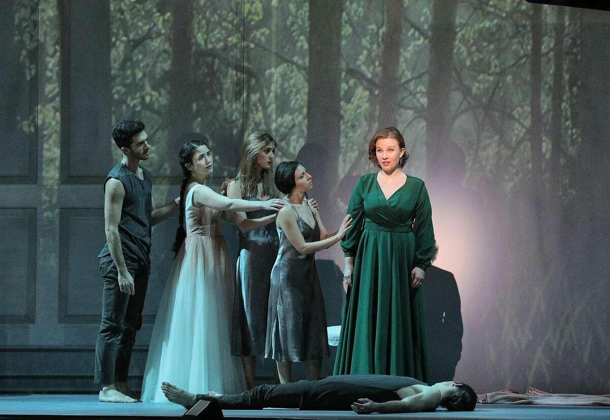 "Mezzo-soprano Sasha Cooke (r.) in the SF Symphony's semi-staged production of Mahler's ""Das Klagende Lied"""