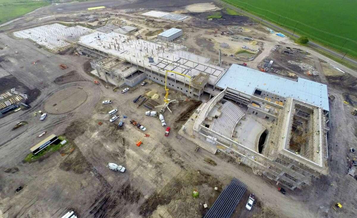 The still-under-construction John Marshall Harlan High School, at 14350 FM 471 in the North Side Independent School district is seen Tuesday, July 7, 2015. The school is being built on former Kallison Ranch property.