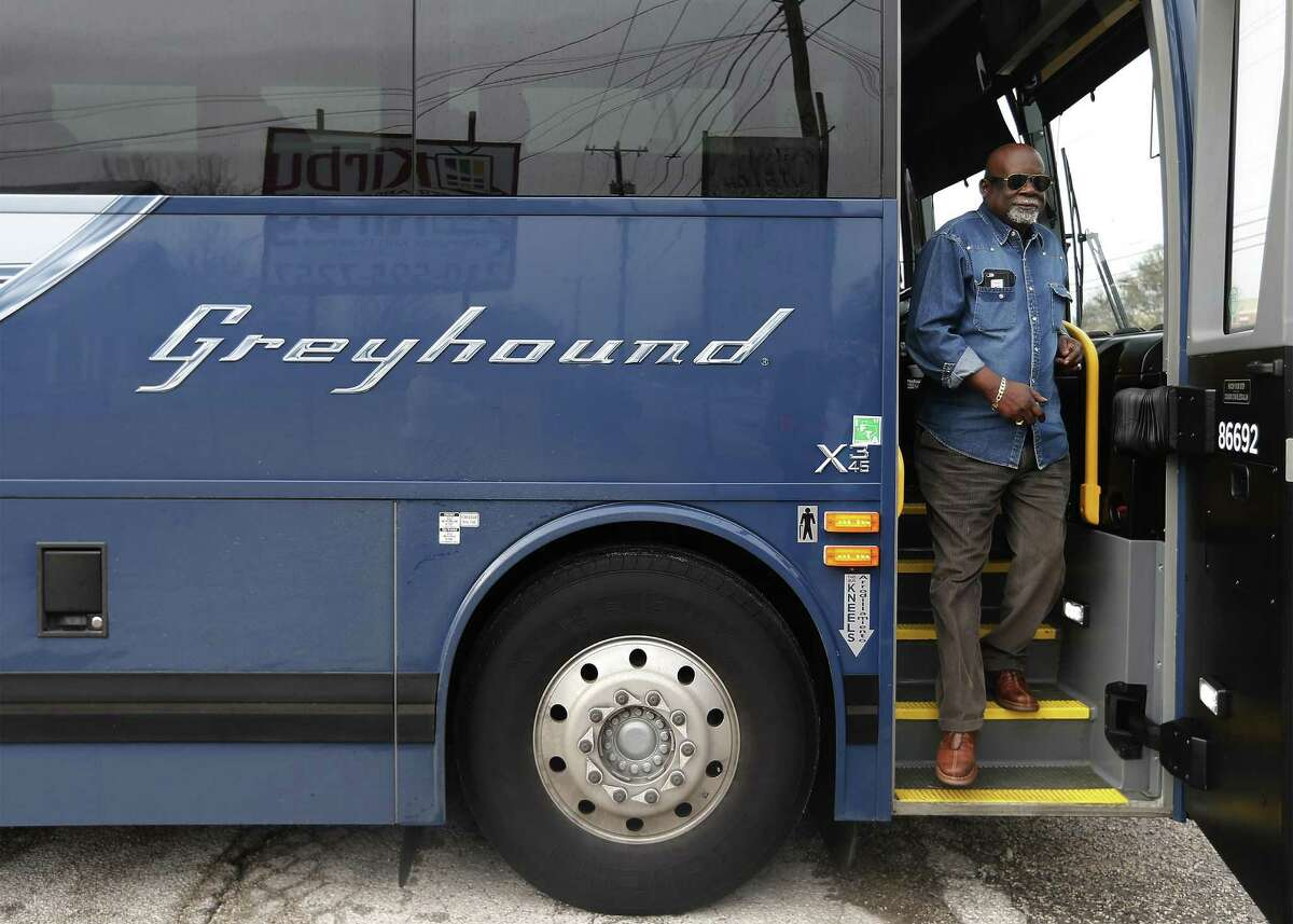 Freedom Rider Fred Anderson disembarks from a Greyhound bus as a gathering of Freedom Riders and supporters ride on the bus through Northeast and East Bexar County to mark the historic 1961 civil rights movement on Saturday, Jan. 14, 2017. San Antonio resident Barbara Bowie who lived in Jackson, Mississippi as a teenager and had first-hand account of segregation and the fight for civil rights was the organizer for Saturday's event. Freedom Riders Fred Anderson, MacArthur Cotton, Kredelle Petway and San Antonio resident Patricia Dilworth joined supporters on a Greyhound bus as it made stops along the way to a parade in their honor. Bus riders had the opportunity to listen to the Freedom Riders tell their stories along the ride and a civil rights hymn or two were also sung during the trip. The bus route started in Selma, Texas and finished by taking part in a parade which ended in Friendship Park in Kirby, Texas. (Kin Man Hui/San Antonio Express-News)