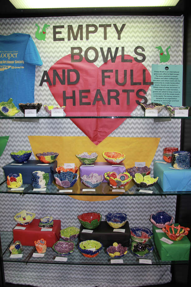The display case in The John Cooper School Mitchell Lower School displays bowls made by Cooper's younger students for the 12th Annual Empty Bowls Project on Feb. 25. Photo: Kelly Schafler