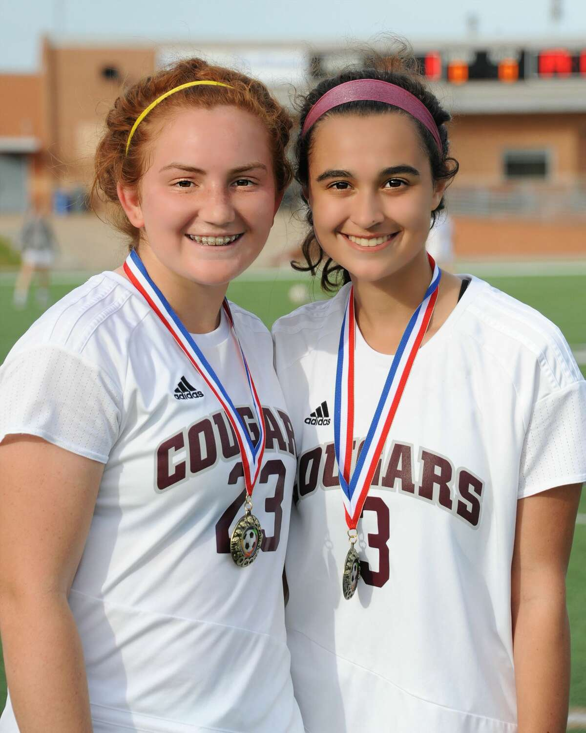 Mary Broudeur (3) and Abby Mccain (23) of Cinco Ranch are the All Tournament Players for the Cougar Bracket Championship Game of the Typhoon Texas/I-10 Shootout on Saturday January 14, 2017 at Rhodes Stadium, Katy, TX.
