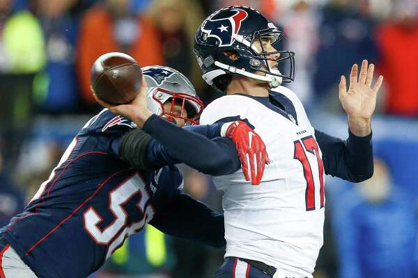 New England Patriots outside linebacker Shea McClellin (58) forces an incomplete pass by Houston Texans quarterback Brock Osweiler (17) during the third quarter of an AFC Divisional Playoff game at Gillette Stadium on Saturday, Jan. 14, 2017, in Foxborough.