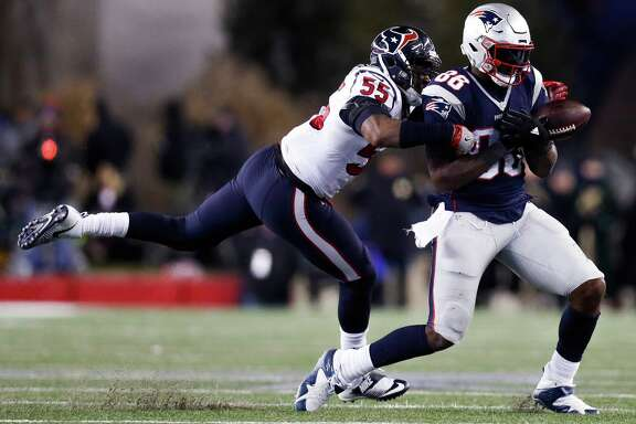 Houston Texans inside linebacker Benardrick McKinney (55) blocks a pass intended for New England Patriots tight end Martellus Bennett (88) during the third quarter of an NFL divisional playoff game at Gillette Stadium, Saturday, January 14,  2017.