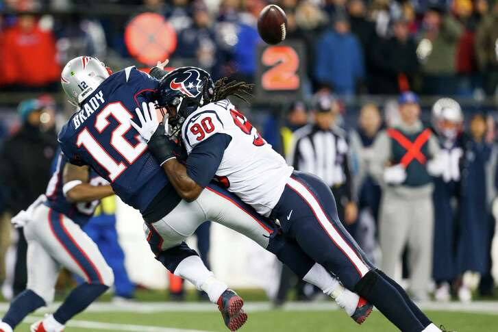 Texans defensive end Jadeveon Clowney (90) was a thorn in the side of Patriots quarterback Tom Brady on Saturday night.