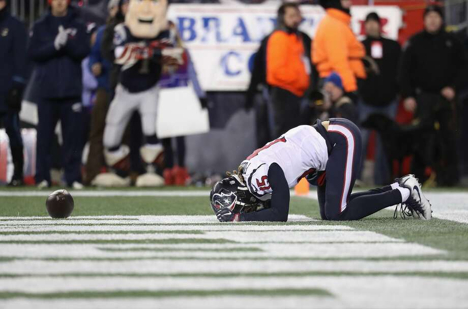 FOXBORO, MA - JANUARY 14: Will Fuller V #15 of the Houston Texans reacts in the second half against the New England Patriots during the AFC Divisional Playoff Game at Gillette Stadium on January 14, 2017 in Foxboro, Massachusetts.  (Photo by Rob Carr/Getty Images) Photo: Rob Carr/Getty Images