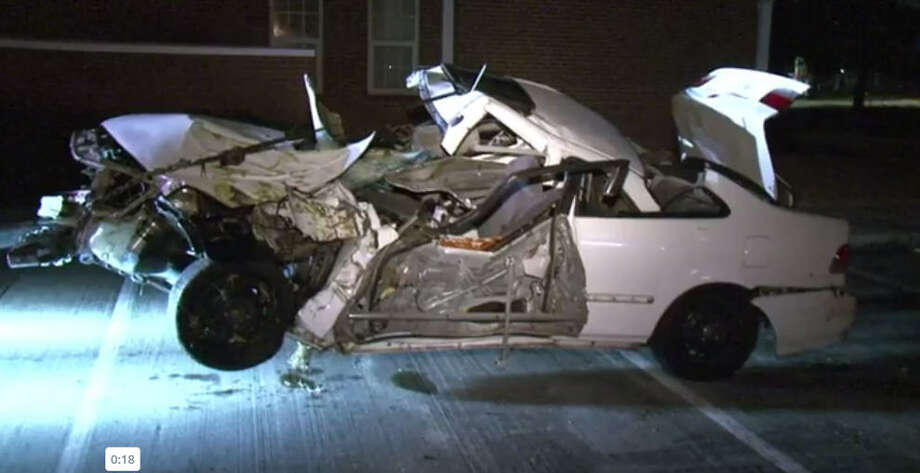 A man was hospitalized after a car crash late Saturday night.