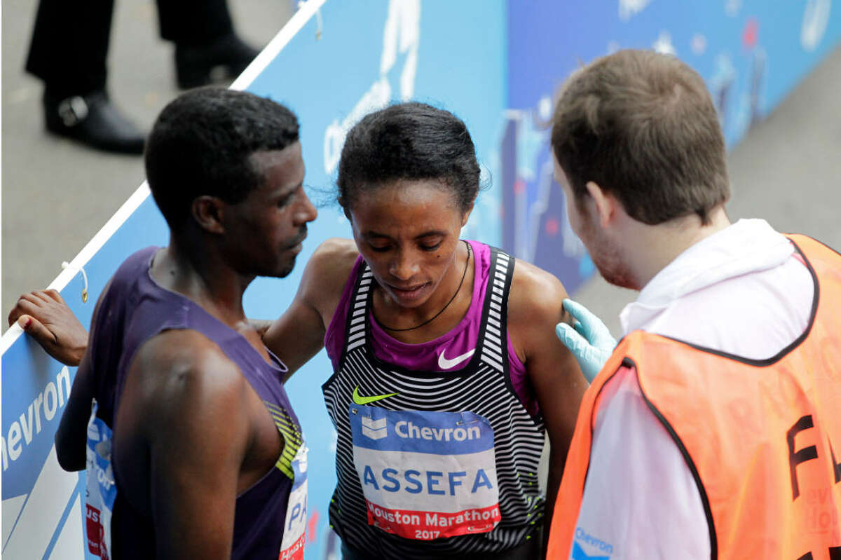 Meskerem Assefa of Ethiopia won the women's division of the Chevron Houston Marathon in just over 2 hours and 30 minutes.