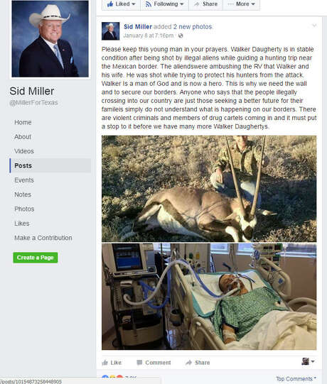 Injured huntersSid Miller posted the story of three hunters being attacked by immigrants in Presidio County, near the Texas-Mexico border. The local sheriff debunked the claim and said the hunters likely shot each other. Photo: Facebook