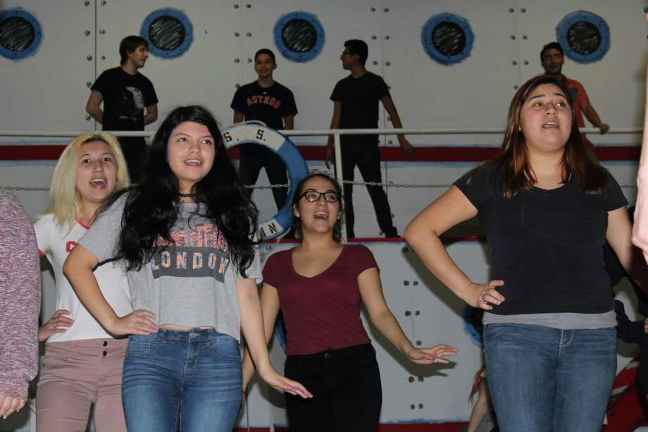 "Singing ""Bon Voyage"" in ""Anything Goes"" at Sam Rayburn High School are front , Juliana Flores, left, Cecilla Carlos; Amy Velazquez and Monica Chave, and back,  Joseph Palmero, left, Joseph Camac, Vicente Garcia and Daniel Perello."