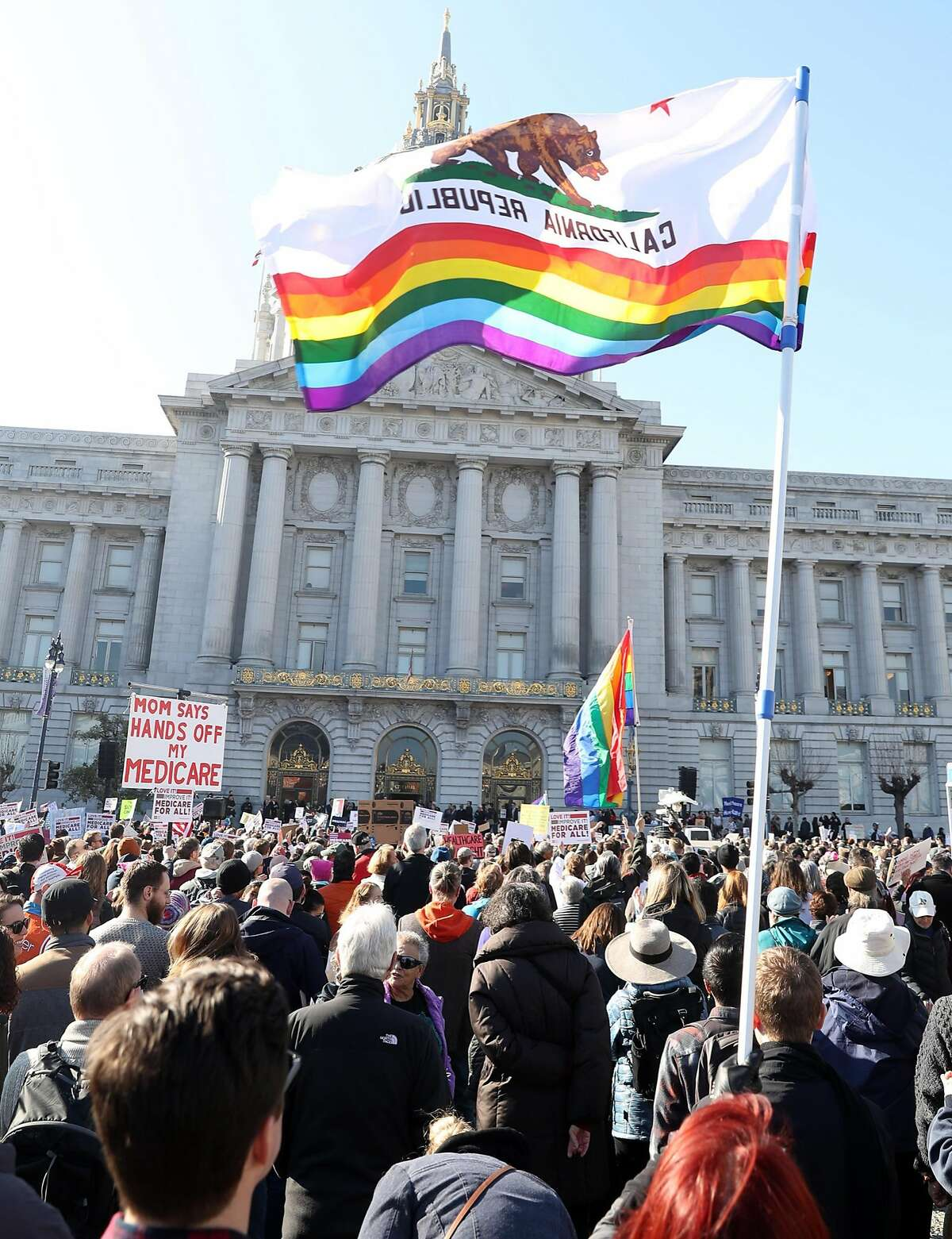 Thousands attend Our First Stand Rally on steps of City Hall in San Francisco, Calif., on Sunday, January 15, 2017.
