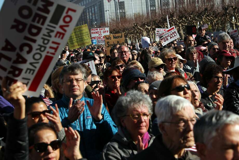 Thousands attend Our First Stand Rally on steps of City Hall in San Francisco, Calif., on Sunday, January 15, 2017. Photo: Scott Strazzante, The Chronicle