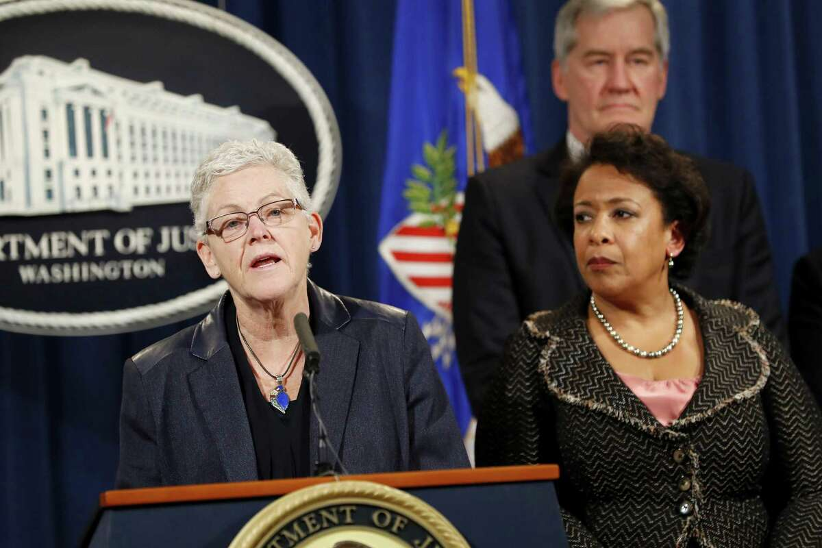 EPA Administrator Gina McCarthy announces a settlement with Volkswagen in the emissions controversy Wednesday. Even as the settlement removed a major source of uncertainty for the company, other cases loom. In addition, there is little doubt that investigators will lean on suspects to testify against others - and push as high up in Volkswagen's organization chart as the evidence allows.