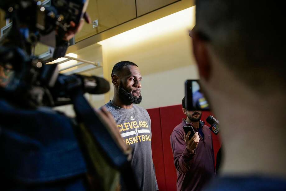 Cleveland Cavaliers forward LeBron James (23) gives an interview to the press during a team practice ahead of a game against the Golden State Warriors at the Olympic Club in San Francisco, Calif., on Sunday, Jan. 15, 2017. Photo: Gabrielle Lurie, The Chronicle