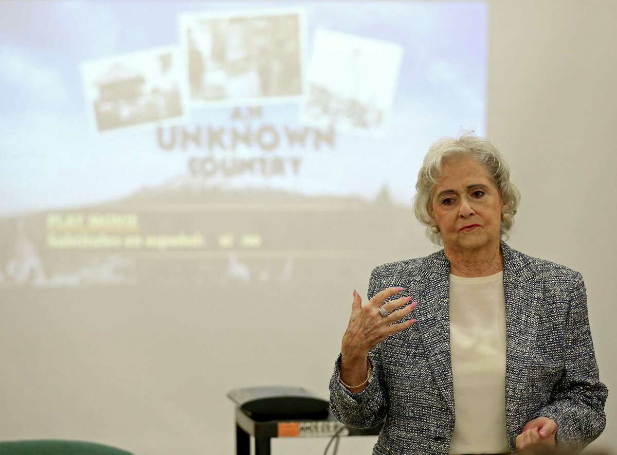 """Eva Balcazar, 86, speaks during a showing of """"An Unknown Country: The Jewish Exiles of Ecuador"""" held Saturday Jan. 14, 2017 at the Great Northwest Library. Balcazar, who was in Berlin during the Night of Broken Glass (Kristallnacht) in 1938, escaped with her family to Ecuador."""