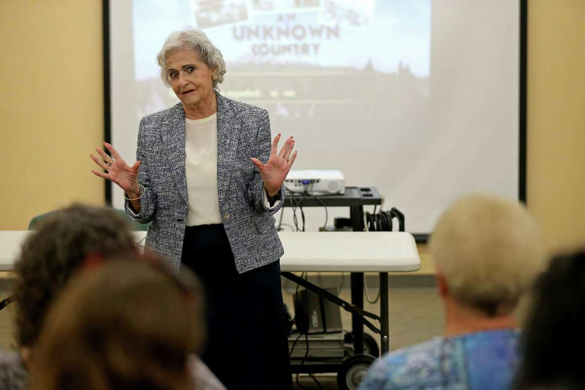 """Eva Balcazar speaks during a screening of """"An Unknown Coun- try: The Jewish Exiles of Ecua- dor"""" on Saturday at the Great Northwest Branch Library. Balcazar's family escaped to Ecuador in November 1938."""