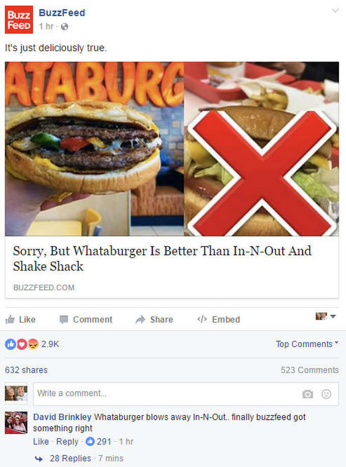 It's official. Whataburger has been dubbed the winner of taste over In-N-Out and Shake Shack, according to BuzzFeed. Photo: BuzzFeed Facebook