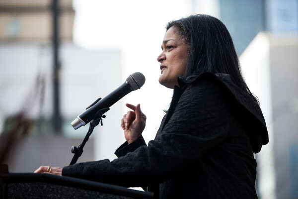 Congresswoman Pramila Jayapal speaks to thousands at Westlake Park to protest the push by Republican-lead government towards defunding the Affordable Care Act, on Sunday, Jan. 15, 2017. (GRANT HINDSLEY, seattlepi.com)