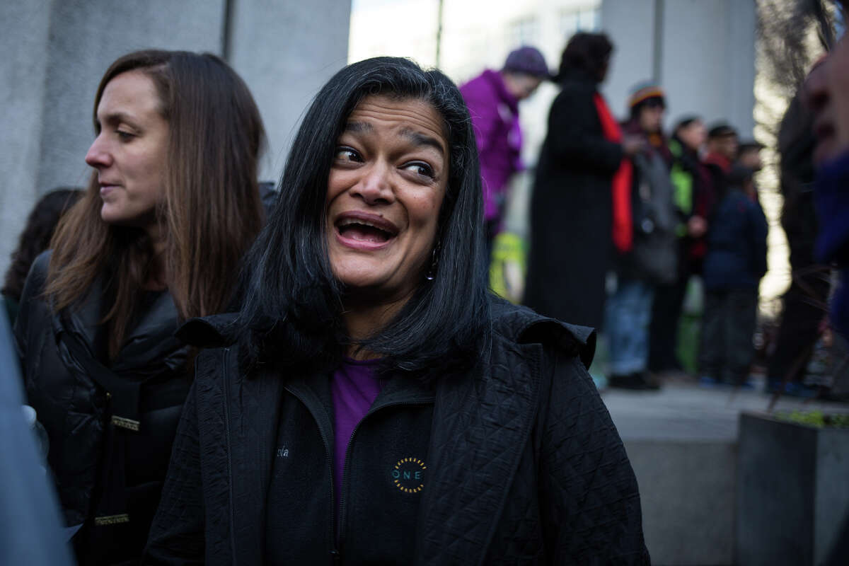 Congresswoman Pramila Jayapal greets people at the gathering against the defunding of the Affordable Care Act at Westlake Park.  She is on the House Judiciary Committee, which is holding hearing on Trump impeachment.