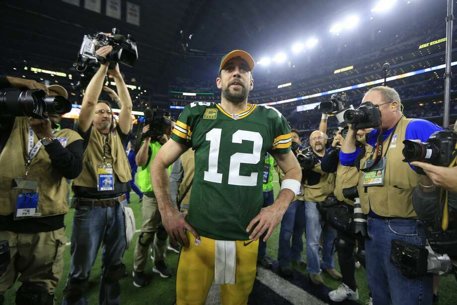 Green Bay Packers' Aaron Rodgers after an NFL divisional playoff football game against the Dallas Cowboys Sunday, Jan. 15, 2017, in Arlington, Texas. The Packers won 34-31. (AP Photo/Ron Jenkins) Photo: Ron Jenkins/Associated Press