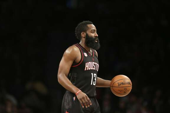 Houston Rockets' James Harden during the first half of the NBA basketball game against the Brooklyn Nets at the Barclays Center, Sunday, Jan. 15, 2017 in New York. (AP Photo/Seth Wenig)