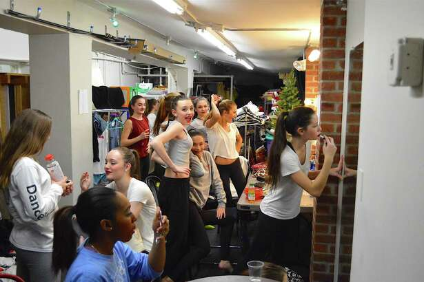 """The girls gather in the dressing room before the show at the Darien Arts Center's 6th annual student-produced """"So We Think We Can Dance"""" show at the Weatherstone Studio, Saturday, Jan. 14, 2017, in Darien, Conn."""