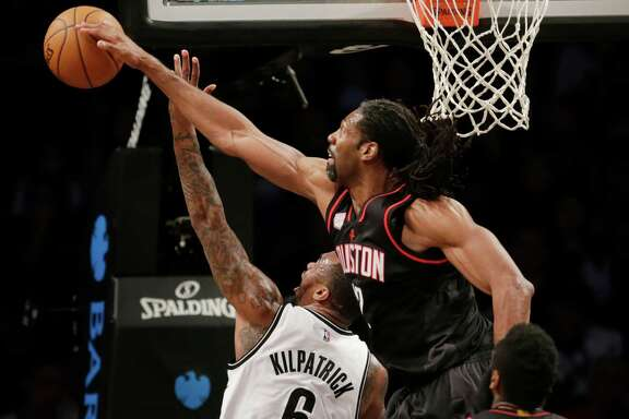 Just because they're named the Nets doesn't mean they can reach them easily, as Brooklyn's Sean Kilpatrick learns, courtesy of the Rockets' Nene.